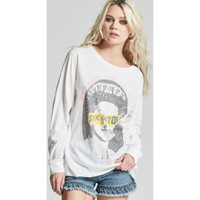 Sex Pistols God Save the Queen Song Title Never Mind the Bollocks Here's the Sex Pistols Album Cover Artwork Women's White Vintage Fashion Long Sleeve T-shirt by Recycled Karma - right
