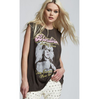 Blondie Heart of Glass Live from New York City Women's Black Vintage Sleeveless Muscle Tank Top Fashion Concert T-shirt by Recycled Karma - right