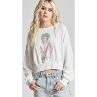Whitney Houston Whitney Album Cover Artwork Women's White Vintage Cropped Fashion Sweatshirt by Recycled Karma - left