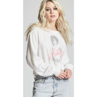 Whitney Houston Whitney Album Cover Artwork Women's White Vintage Cropped Fashion Sweatshirt by Recycled Karma - right