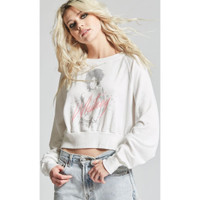 Whitney Houston Whitney Album Cover Artwork Women's White Vintage Cropped Fashion Sweatshirt by Recycled Karma - left 2