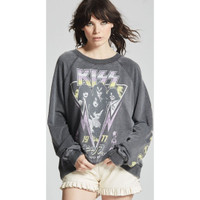 Kiss Budokan Tokyo, Japan 1977 Women's Black Vintage Fashion Concert Sweatshirt by Recycled Karma - front 2