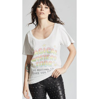 The Beatles The Magical Mystery Tour is Waiting to Take You Away Song Lyric Women's White Vintage Fashion Scoop Neck T-shirt by Recycled Karma - front 3