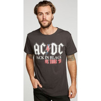 AC/DC ACDC Back in Black United Kingdom Tour 1980 Men's Black Vintage Fashion Concert T-shirt by Chaser - front