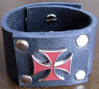 Rocker Rags Black Leather Cuff Bracelet with Red Metal Iron Cross