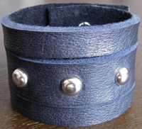 Rocker Rags Black Leather Cuff Bracelet with Three Horizontal Nickel Plated Round Metal Studs