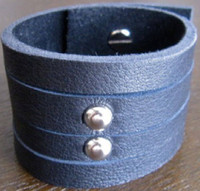 Rocker Rags Black Leather Cuff Bracelet with Two Vertical Nickel Plated Round Metal Studs