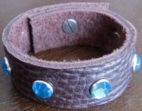 Rocker Rags Chocolate Brown Leather Cuff Bracelet with Large Blue Crystals
