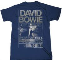 David Bowie Isolar Tour Los Angeles' Forum February 1976 Promotional Poster Artwork Men's Unisex Vintage Blue Fashion Concert T-shirt