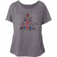 Def Leppard Pour Some Sugar On Me Song Title Women's Gray Vintage Dolman Fashion T-shirt