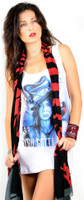 Corello Dead Horse Logo Scarf - in red and black - unwrapped
