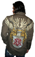 Roar Clothing Glory Bound Winged Crest with Rhinestones Men's Brown Long Sleeve Button Up Shirt - Back
