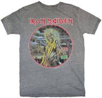 Iron Maiden Killers Album Cover Artwork Men's Gray Vintage T-shirt