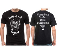 Motorhead England War Pig Snaggletooth Logo Everything Louder Than Everything Else Men's Black T-shirt