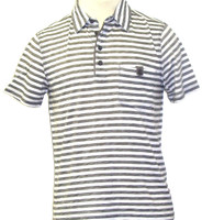 Generra Collection Clothing Second Skin Clothes Men's Polo Shirt - Gray with White Stripes