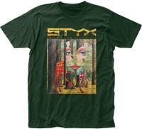 Styx The Grand Illusion Album Cover Artwork Men's Green T-shirt