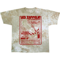 Led Zeppelin Tampa Stadium Tampa, Florida Saturday May 5, 1973 Concert Promotional Poster Artwork Men's Beige Tie-Dye T-shirt