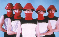 Devo Band Members Wearing Energy Dome Flower Pot Red Hats