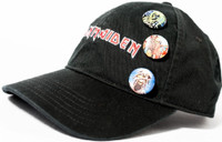 Iron Maiden Logo Black Baseball Cap with Eddie the Head Buttons - Left Side