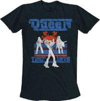 Queen Tour 1976 Men's Black Vintage Concert T-shirt