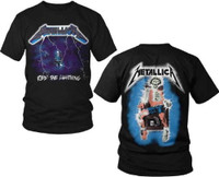 Metallica Ride the Lightning Album Cover Artwork with Electrocuted Man Skeleton Logo Men's Black T-shirt