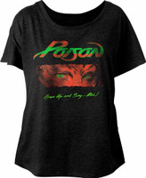 Poison Open Up and Say...Ahh Album Cover Artwork Women's Black Dolman T-shirt