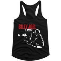 Billy Joel 12 Gardens Live Album Cover Artwork Women's Black Racerback Tank Top Fashion T-shirt