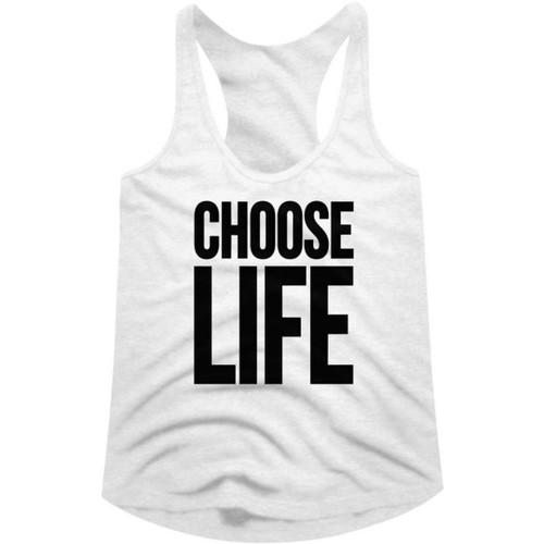 Wham! Choose Life Slogan Women's White Vintage Fashion Racerback Tank Top T-shirt