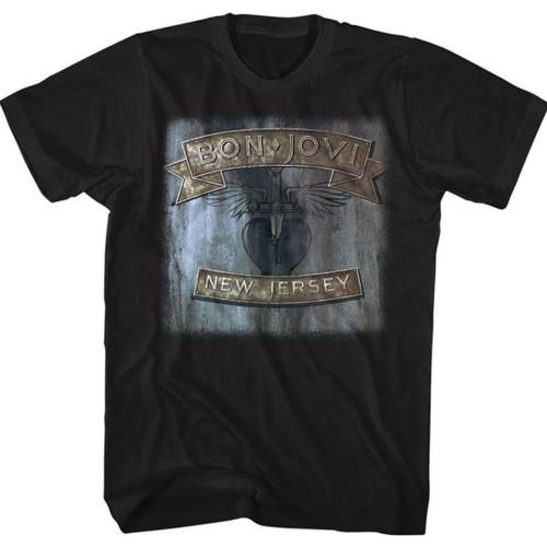 Bon Jovi New Jersey Album Cover Artwork Men's Unisex Black T-shirt