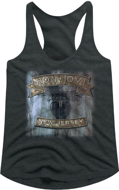 Bon Jovi New Jersey Album Cover Artwork with Bon Jovi Heart and Dagger Logo Women's Gray Racer Back Tank Top T-shirt