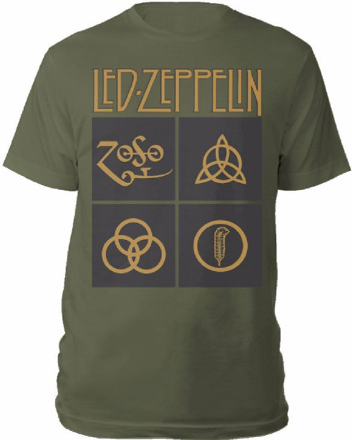 Led Zeppelin Symbols Artwork from Led Zeppelin IV Inner Sleeve Men's Olive Green T-shirt
