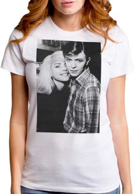 31f546e39d8681 Blondie Debbie Harry and David Bowie Classic Photograph Women s White T- shirt