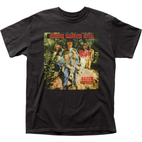 Creedence Clearwater Revival CCR Green River Album Cover Artwork Men's Unisex Black Fashion T-shirt
