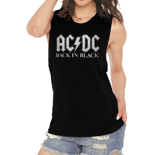 AC/DC Back in Black Women's Sleeveless Muscle Fashion T-shirt - on model