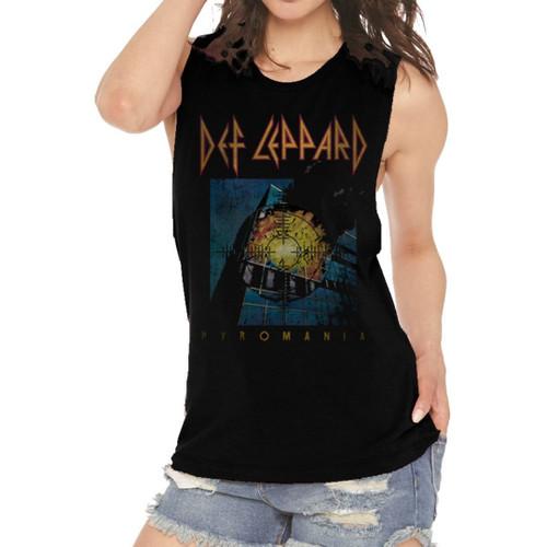 Def Leppard Pyromania Album Cover Artwork Women's Black Vintage Sleeveless Muscle Tank Top Fashion T-shirt - on model