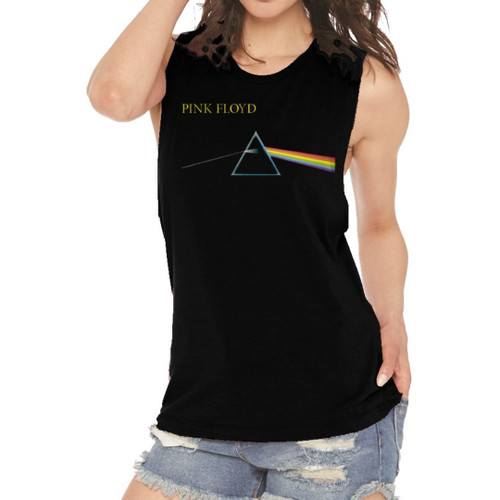 Pink Floyd Dark Side of the Moon Sleeveless Muscle Tank Top Fashion T-shirt - on model