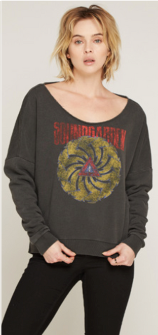 Soundgarden Badmotorfinger Album Cover Artwork Gray Vintage Slashback Sweatshirt by Trunk Ltd. - front