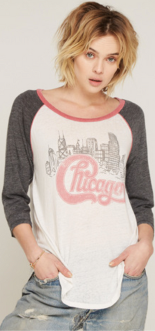 6381e71d66ed6a Chicago Rock Band Logo Women s Vintage White and Gray Raglan Baseball  Jersey by Trunk ...