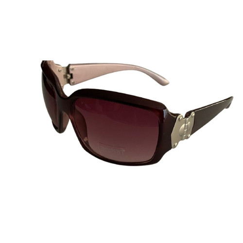 Esprit Women's Classic Rectangle Sunglasses with Burgundy Frame and Wine Colored Lenses