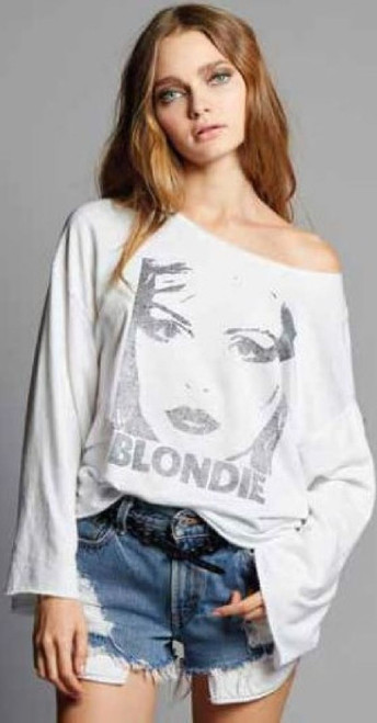 Blondie Debbie Harry Image Women's White Vintage Fleece Fashion Shirt by Recycled Karma