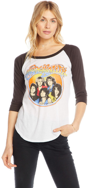 Aerosmith Band Member Image Women's Vintage White and Black Vintage Baseball Jersey Raglan  Fashion T-shirt by Chaser - right