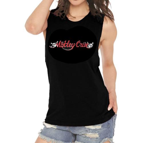 Motley Crue Logo Women's Black Sleeveless Muscle Tank Top Fashion T-shirt - on model