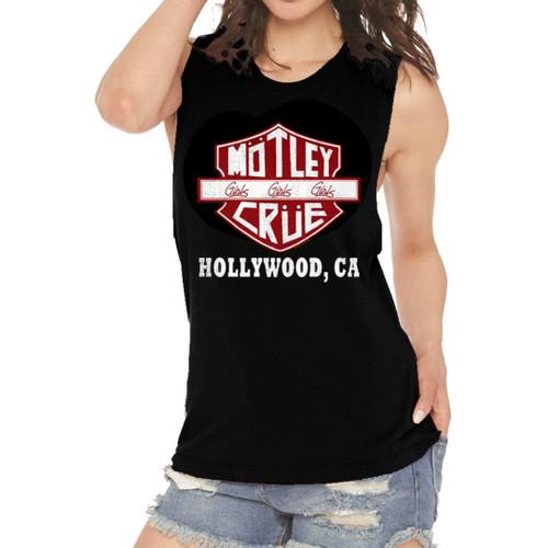 Motley Crue Logo Girls Girls Girls Girls Album Title Hollywood, CA Women's Black Vintage Sleeveless Muscle Tank Top Fashion T-shirt - on model
