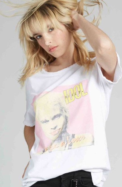 Billy Idol Got to Be a Lover Song Single Album Cover Artwork Women's White Vintage Fashion T-shirt by Recycled Karma