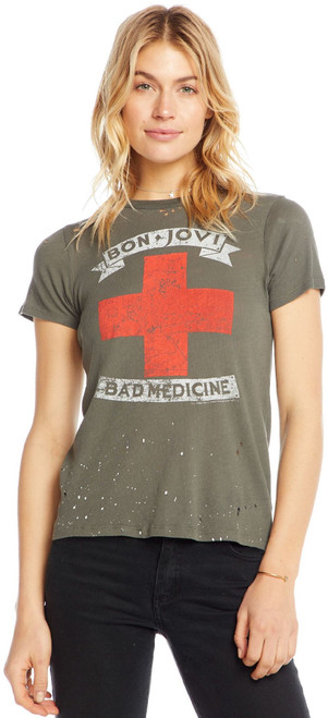 Bon Jovi Bad Medicine Women's Olive Military Green Distressed Vintage Fashion Slub T-shirt by Chaser - Front