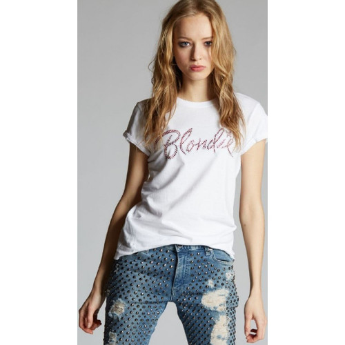 Blondie Crystal Studded Logo Women's White Distressed Fashion T-shirt by Recycled Karma Black Label - front