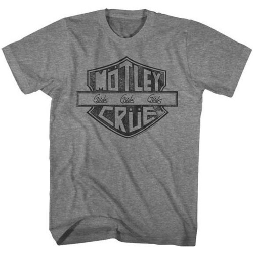 Motley Crue Logo Girls Girls Girls Album Title Men's Unisex Gray Vintage Fashion T-shirt