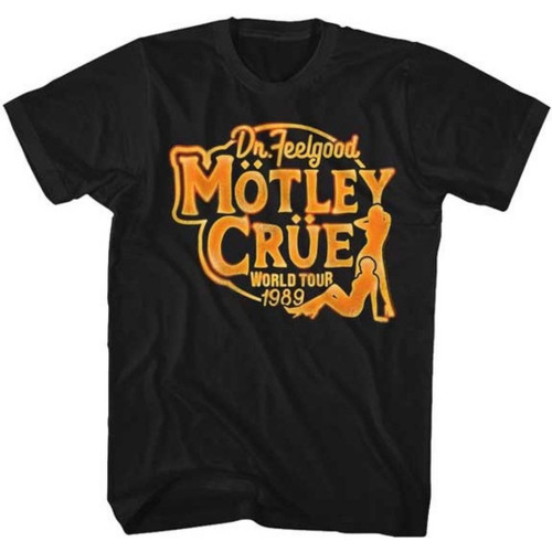 Motley Crue Dr. Feelgood World Tour 1989 Men's Unisex Black Vintage Fashion Concert T-shirt