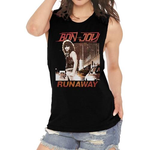 Bon Jovi Runaway Song Single Album Cover Artwork Women's Black Vintage Sleeveless Muscle Fashion T-shirt - model