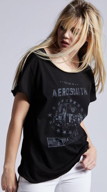 Aerosmith Rock Out to Aerosmith Boston 1974 Promotional Poster Artwork Women's Black Vintage Fashion Concert T-shirt by Recycled Karma - side